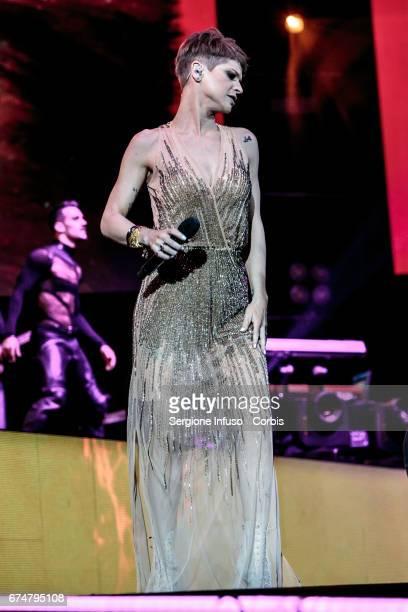 Italian pop singer Alessandra Amoroso performs on stage on April 28 2017 in Verona Italy
