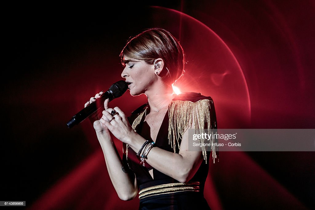 Italian pop singer Alessandra Amoroso performs on stage on October 11, 2016 in Milan, Italy.