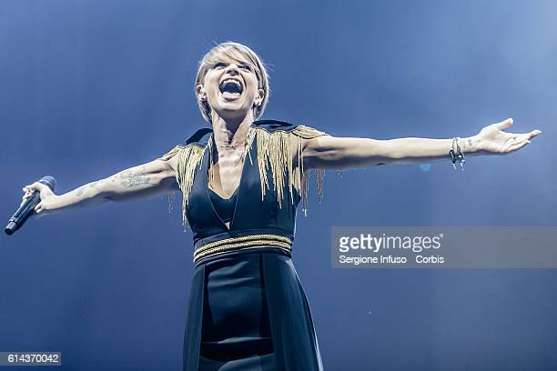 Italian pop singer Alessandra Amoroso performs on stage on October 11 2016 in Milan Italy