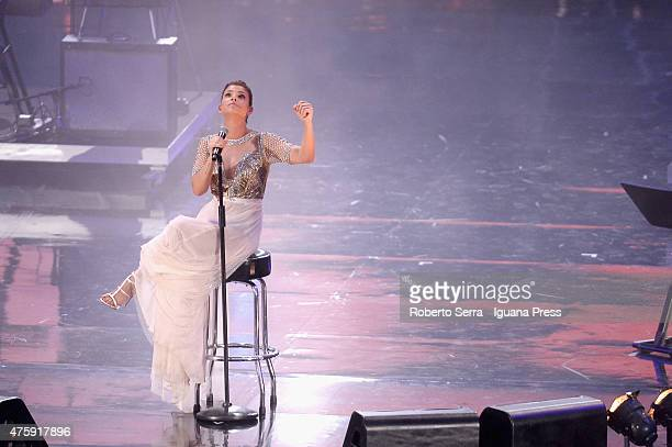 Italian pop singer Emma Marrone performs at the 2015 Wind Music Awards at Arena di Verona on June 4 2015 in Verona Italy