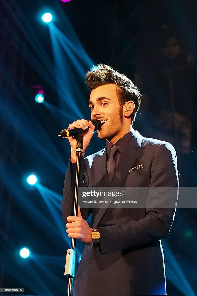 Italian pop singer Marco Mengoni performs the Lucio Dalla Tribute at Piazza Maggiore on March 4, 2013 in Bologna, Italy.