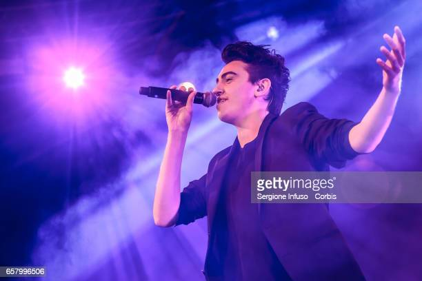 Italian pop singer Michele Bravi performs on stage for CocaCola OnStage Awards on March 25 2017 in Milan Italy