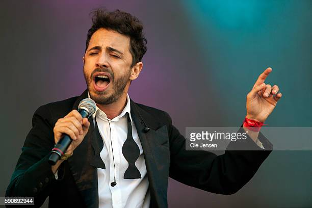 Italian pop singer Osvaldo Supino performs on stage at Copenhagen Pride opening show at Copenhagen City Hall Square in Denmark on August 16 2016...