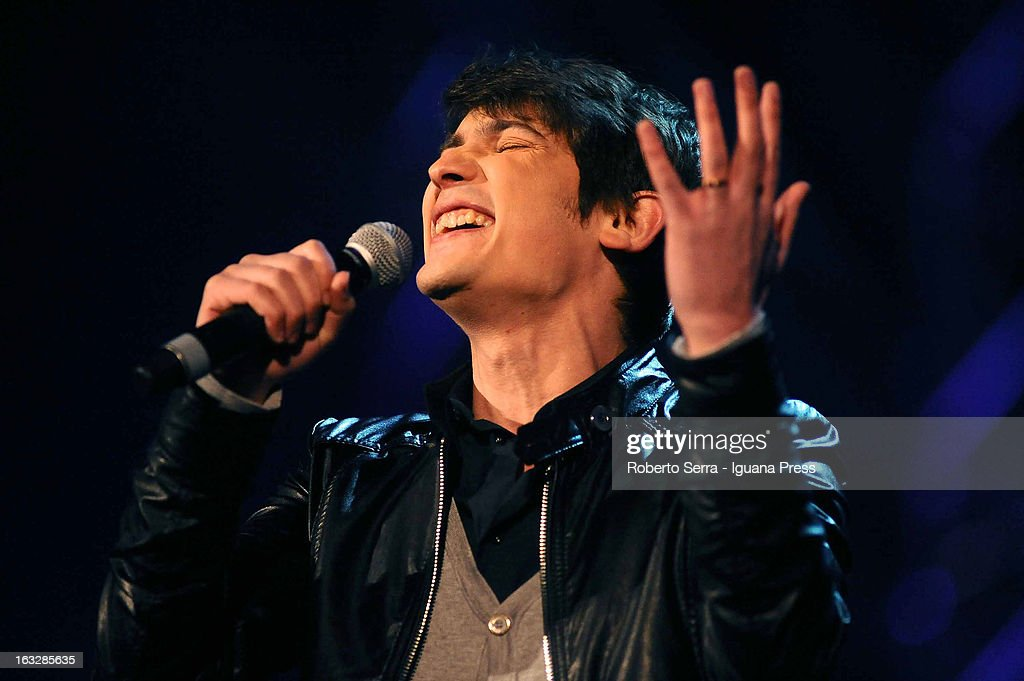 Italian pop singer Pierdavide Carone performs the Lucio Dalla Tribute at Piazza Maggiore on March 4, 2013 in Bologna, Italy.