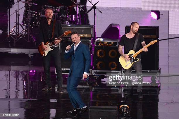 Italian pop singer Tiziano Ferro performs at the 2015 Wind Music Awards at Arena di Verona on June 4 2015 in Verona Italy