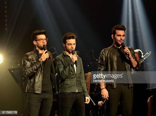 Italian pop trio Il Volo Piero Barone Gianluca Ginoble and Ignazio Boschetto perform at the Pearl at Palms Casino Resort on March 25 2016 in Las...