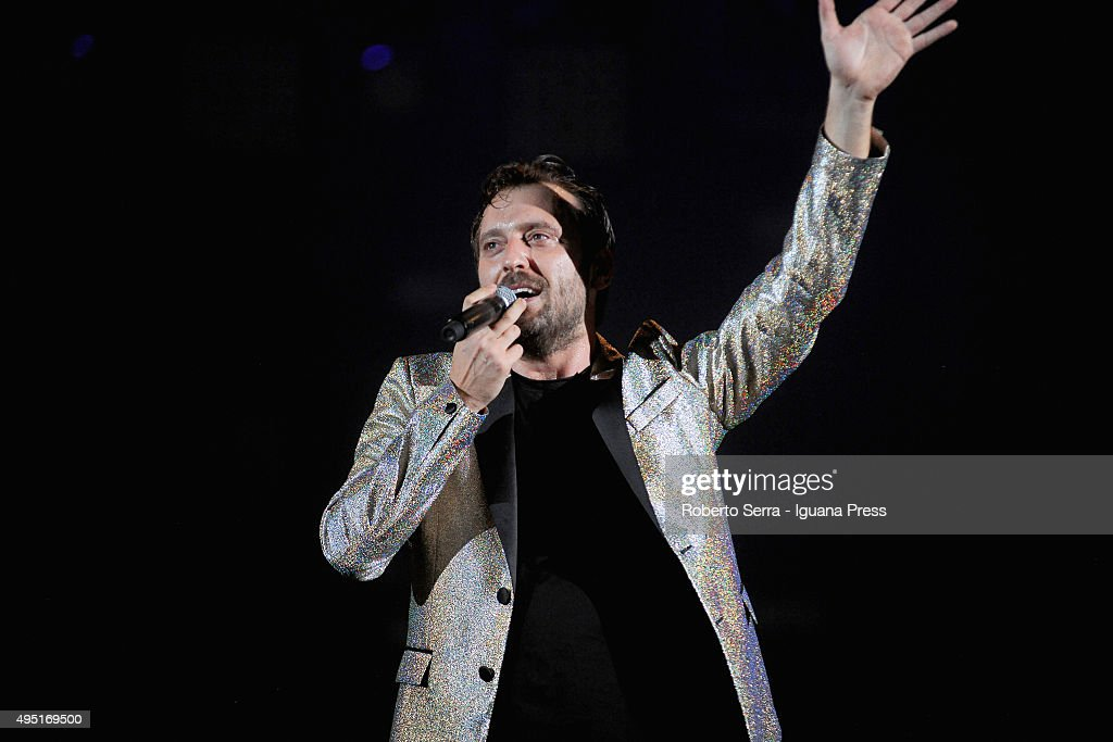 Italian popsinger and author Cesare Cremonini performs at Unipol Arena on October 31 2015 in Bologna Italy