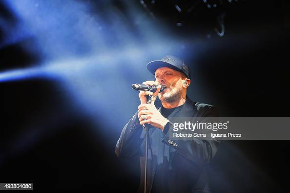 Italian popsinger and author Max Pezzali performs at Unipol Arena on October 22 2015 in Bologna Italy