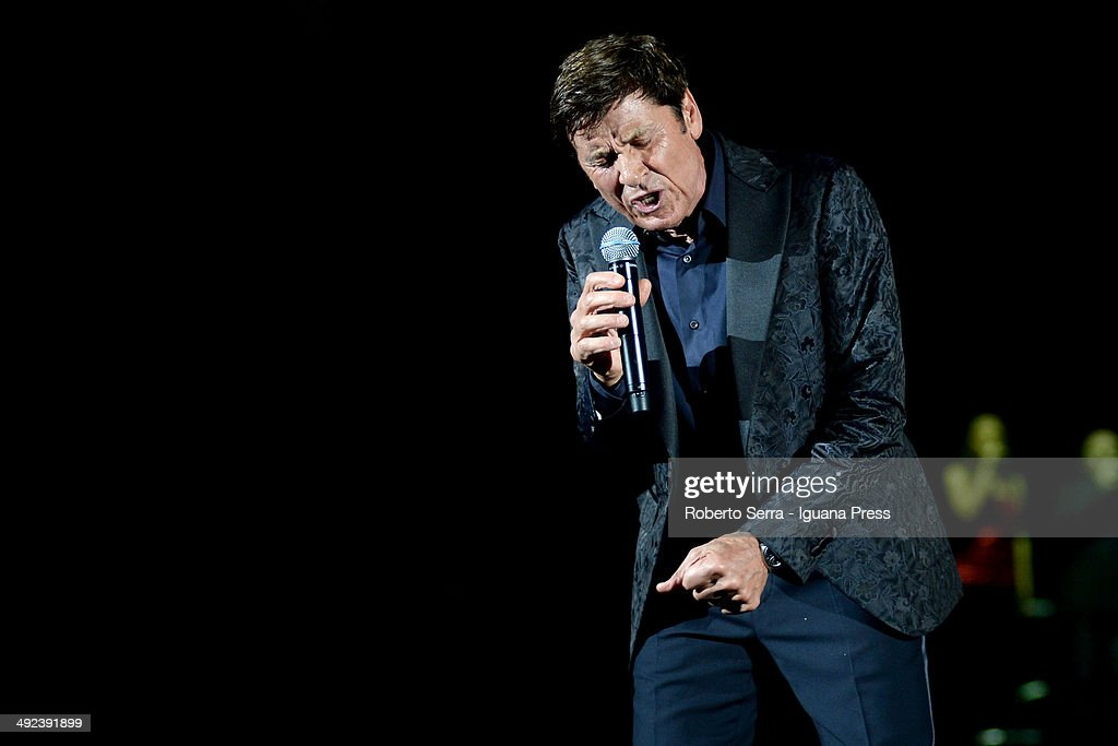 Italian popsinger Gianni Morandi performs at Unipol Arena on May 10, 2014 in Bologna, Italy.