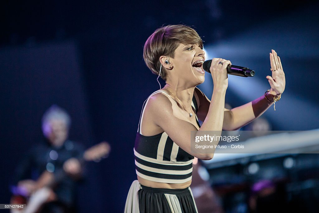 Italian pop/soul singer <a gi-track='captionPersonalityLinkClicked' href=/galleries/search?phrase=Alessandra+Amoroso&family=editorial&specificpeople=5905871 ng-click='$event.stopPropagation()'>Alessandra Amoroso</a> performs live at Mediolanum Forum of Assago on May 30, 2016 in Milan, Italy.