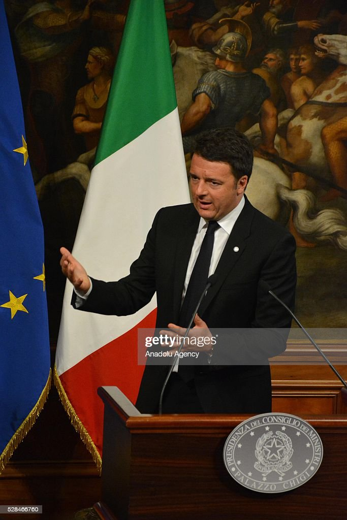 Italian Premier Matteo Renzi and German Chancellor Angela Merkel (not seen) hold a press conference after a bilateral meeting, in Rome, Italy, 05 May 2016.