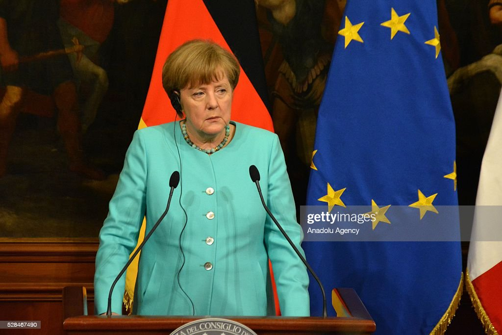 Italian Premier Matteo Renzi (not seen) and German Chancellor Angela Merkel hold a press conference after a bilateral meeting, in Rome, Italy, 05 May 2016.