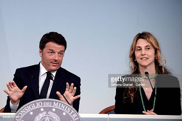 Italian Premier Matteo Renzi and Minister Marianna Madia during a press conference at Palazzo Chigi after the Council of Ministers No 120 speaking...