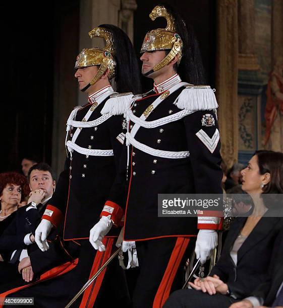 Italian Premier Matteo Renzi and President of the Chamber of Deputies Laura Boldrini attend the President of Italian Republic Sergio Mattarella...