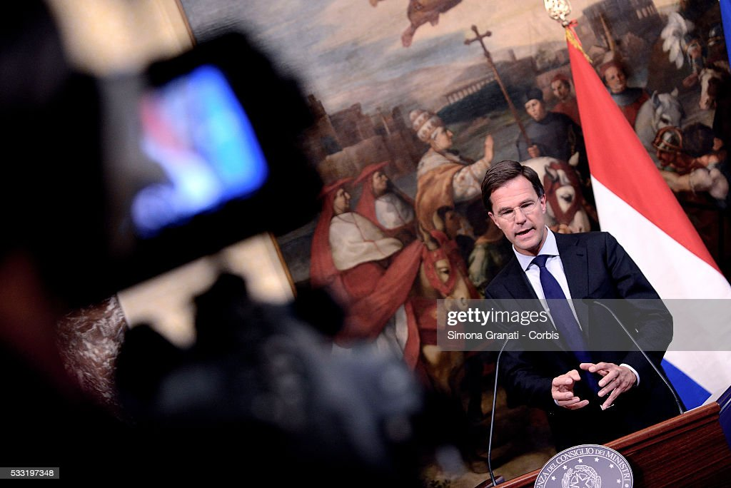 Italian Premier Matteo Renzi received at Palazzo Chigi, the Dutch Prime Minister <a gi-track='captionPersonalityLinkClicked' href=/galleries/search?phrase=Mark+Rutte&family=editorial&specificpeople=4509362 ng-click='$event.stopPropagation()'>Mark Rutte</a>, on May 19, 2016 in Rome, Italy.