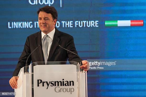 BATTIPAGLIA SALERNO CAMPANIA ITALY Italian Premier Matteo Renzi visiting Battipaglia province of Salerno in the company Prysmian market leader in...