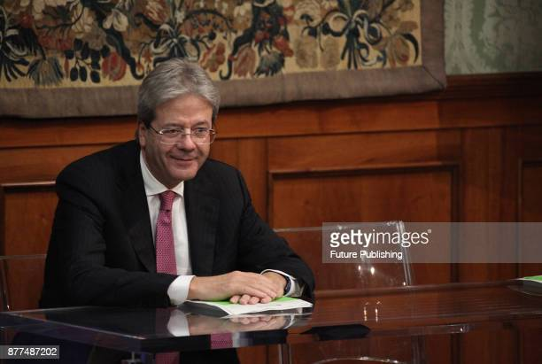 Italian premier Paolo Gentiloni during the presentation of the 'Green Italy 2017 report' at Palazzo Chigi on November 22 2017 in Rome Italy Marco...