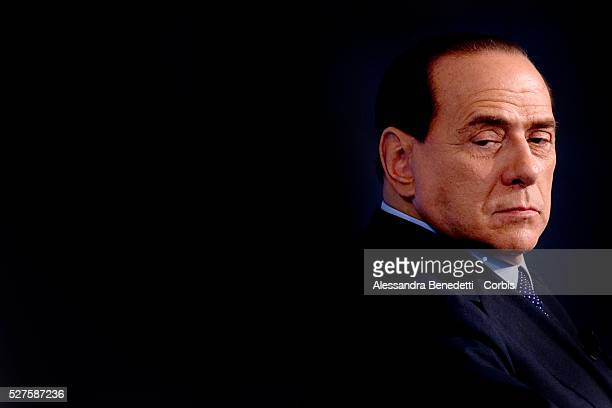 Italian Premier Silvio Berlusconi attends the taping of Italian politics show 'Porta A Porta' After a weeklong dispute Berlusconi accepted the first...