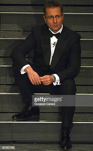 Italian presenter Paolo Bonolis is seen at the first day of the San Remo Festival at the Ariston Theatre on March 1 2005 in San Remo Italy The...