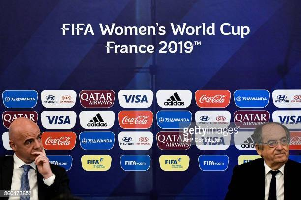 Italian president Gianni Infantino and FFF French president Noel Le Graet attend a press conference to present the FIFA Women's World Cup France 2019...