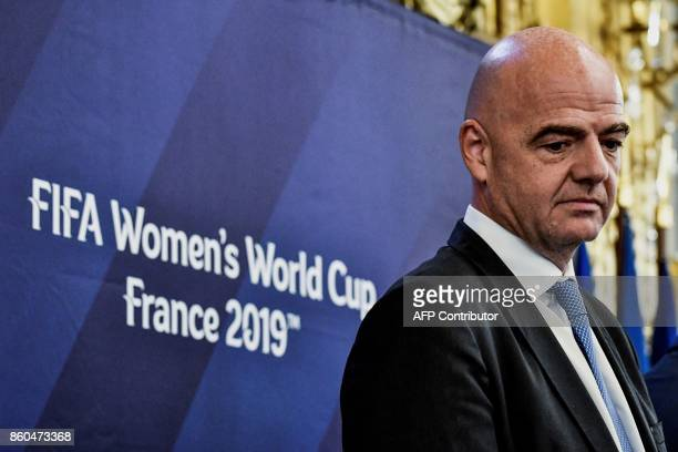 Italian president Gianni Infantino attends a press conference to launch the FIFA Women's World Cup France 2019 at the town hall of Lyon on October 12...