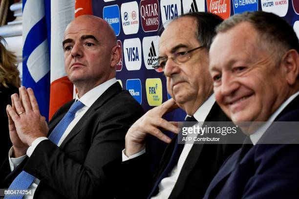 FIFA Italian president Gianni Infantino FFF French president Noel Le Graet and Olympique Lyonnais French president JeanMichel Aulas attend a press...
