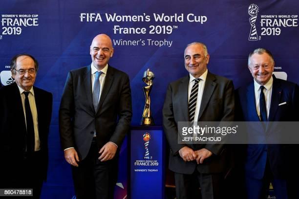 Italian president Gianni Infantino FFF French president Noel Le Graet Lyon's mayor Georges Kepenekian and Olympique Lyonnais French president...