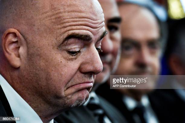 FIFA Italian president Gianni Infantino reacts during a press conference to present the FIFA Women's World Cup France 2019 at the town hall of Lyon...