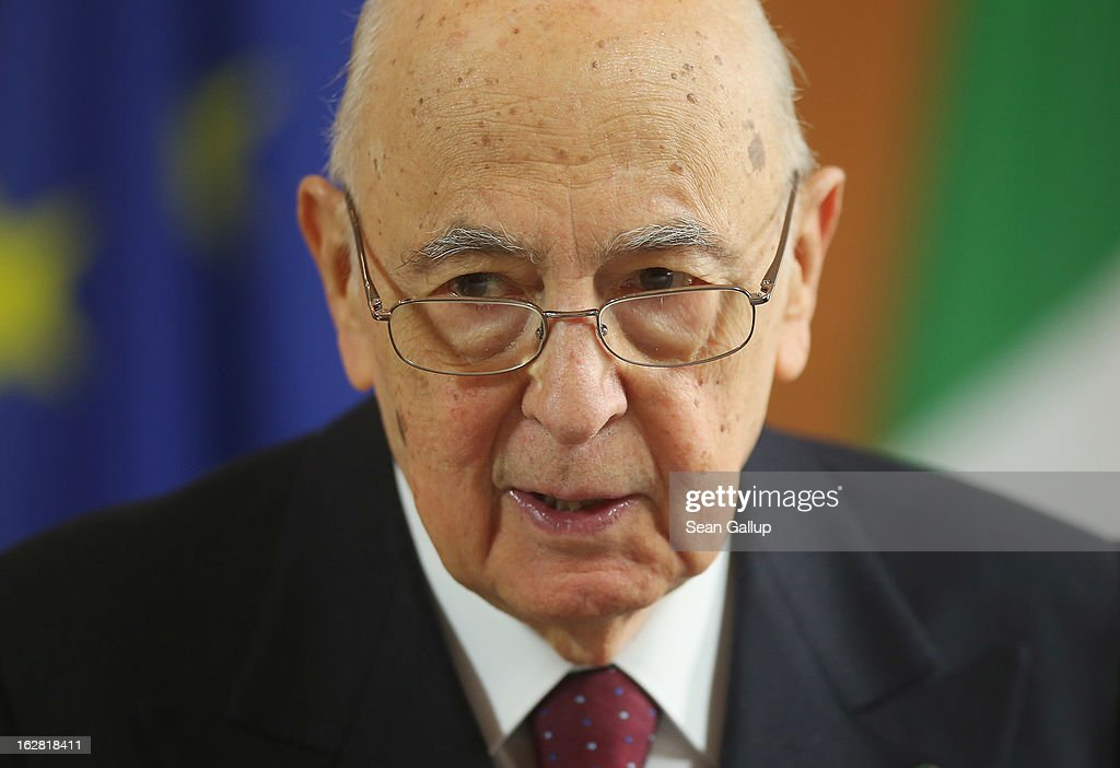 Italian President <a gi-track='captionPersonalityLinkClicked' href=/galleries/search?phrase=Giorgio+Napolitano&family=editorial&specificpeople=568986 ng-click='$event.stopPropagation()'>Giorgio Napolitano</a> arrives at Schloss Bellevue palace to meet with German President Joachim Gauck on February 28, 2013 in Berlin, Germany. Napolitano, who is on a three-day visit to Germany, cancelled his scheduled dinner with German Social Democrat and chancellor candidiate Peer Steinbrueck the evening before after Steinbrueck made public comments decribing Italian election frontrunners Silvio Berlusconi and Beppe Grillo as political 'clowns'.