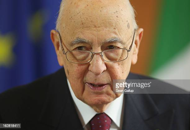 Italian President Giorgio Napolitano arrives at Schloss Bellevue palace to meet with German President Joachim Gauck on February 28 2013 in Berlin...