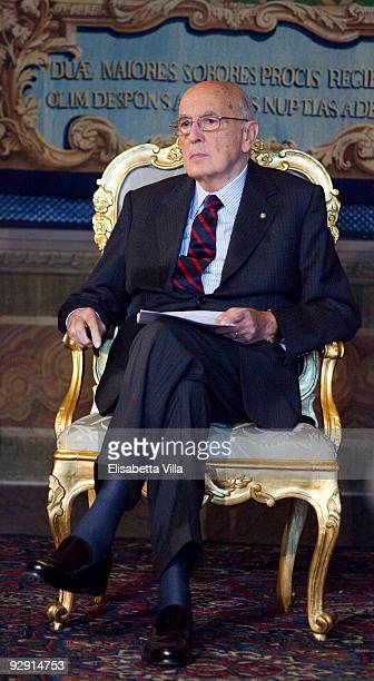 Italian President Giorgio Napolitano attends the 2009 Vittorio De Sica Awards at Quirinale on November 9 2009 in Rome Italy