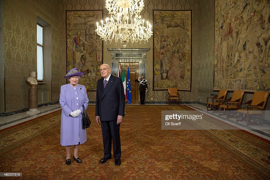 Italian President Giorgio Napolitano greets Her Majesty Queen Elizabeth II in the 'Sala del Bronzino' of the 'Palazzo del Quirinale' during her one-day visit to Rome on April 3, 2014 in Rome, Italy. During their brief visit The Queen and the Duke of Edinburgh will have lunch with Italian President Giorgio Napolitano and an audience with Pope Francis at the Vatican. The Queen was originally due to travel to Rome in April 2013 but the visit was postponed due to her ill health. The audience with Pope Francis will be the fifth meeting The Queen, who is head of the Church of the England, has held with a Pope in the Vatican.