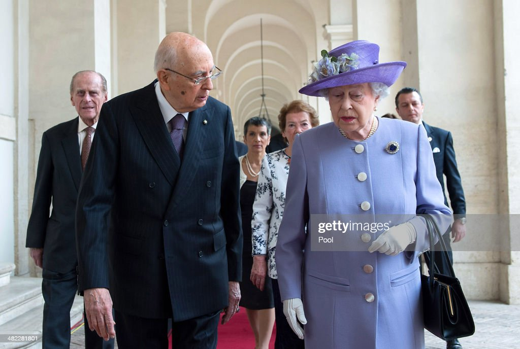 Italian President <a gi-track='captionPersonalityLinkClicked' href=/galleries/search?phrase=Giorgio+Napolitano&family=editorial&specificpeople=568986 ng-click='$event.stopPropagation()'>Giorgio Napolitano</a> greets Her Majesty Queen <a gi-track='captionPersonalityLinkClicked' href=/galleries/search?phrase=Elizabeth+II&family=editorial&specificpeople=67226 ng-click='$event.stopPropagation()'>Elizabeth II</a> in at 'Palazzo del Quirinale' during her one-day visit to Rome on April 3, 2014 in Rome, Italy. During their brief visit The Queen and the Duke of Edinburgh will have lunch with Italian President <a gi-track='captionPersonalityLinkClicked' href=/galleries/search?phrase=Giorgio+Napolitano&family=editorial&specificpeople=568986 ng-click='$event.stopPropagation()'>Giorgio Napolitano</a> and an audience with Pope Francis at the Vatican. The Queen was originally due to travel to Rome in April 2013 but the visit was postponed due to her ill health. The audience with Pope Francis will be the fifth meeting The Queen, who is head of the Church of the England, has held with a Pope in the Vatican.