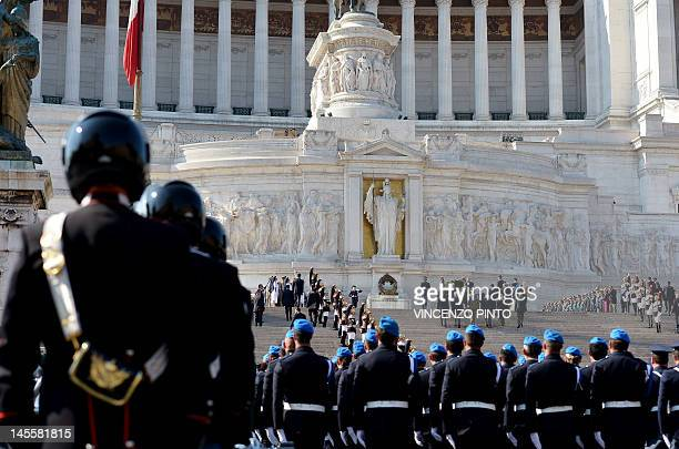 Italian President Giorgio Napolitano pays his respects at the Unknown Soldier monumet at the Altare della Patria in Rome on June 2 prior a military...