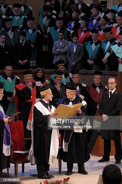 Italian President Giorgio Napolitano receives an honorary degree in International Relations awarded by the faculty of Political Science from Ivano...