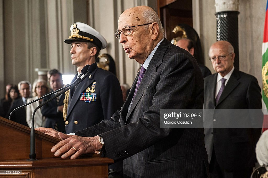 Italian President <a gi-track='captionPersonalityLinkClicked' href=/galleries/search?phrase=Giorgio+Napolitano&family=editorial&specificpeople=568986 ng-click='$event.stopPropagation()'>Giorgio Napolitano</a> talks to the press after appointing Deputy leader of the centre left Democratic Party Enrico Letta (not pictured) to form a new government at Palazzo del Quirinale on April 24, 2013 in Rome, Italy. It is hoped the nomination of a new prime minister will release the political deadlock that has gripped Italy since February 2013 election, and will help ease the countries economic woes.