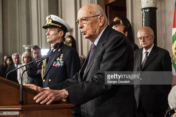 Italian President Giorgio Napolitano talks to the press after appointing Deputy leader of the centre left Democratic Party Enrico Letta to form a new...