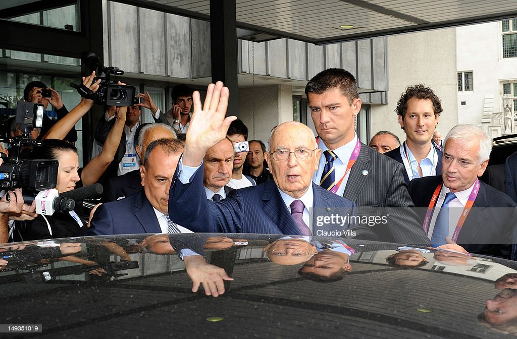 Italian President Giorgio Napolitano visits Casa Italia, at The Queen Elizabeth II Conference Centre on July 27, 2012 in London, England.