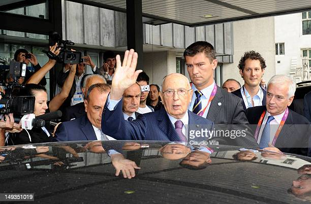 Italian President Giorgio Napolitano visits Casa Italia at The Queen Elizabeth II Conference Centre on July 27 2012 in London England