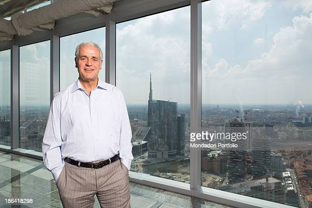 Italian President of Lombardy Roberto Formigoni posing at Palazzo Lombardia in front of the Unicredit Tower and the Porta Nuova buildings Milan 13th...