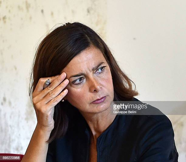 Italian President of the Chamber of Deputies Laura Boldrini attends a press conference on August 25 2016 in Arquata del Tronto Italy The death toll...