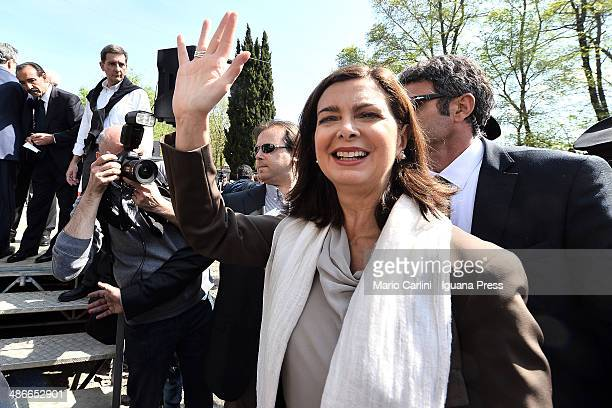Italian President of the Chamber of Deputies Laura Boldrini attends the celebration for Liberation at Monte Sole di Marzabotto on April 25 2014 in...