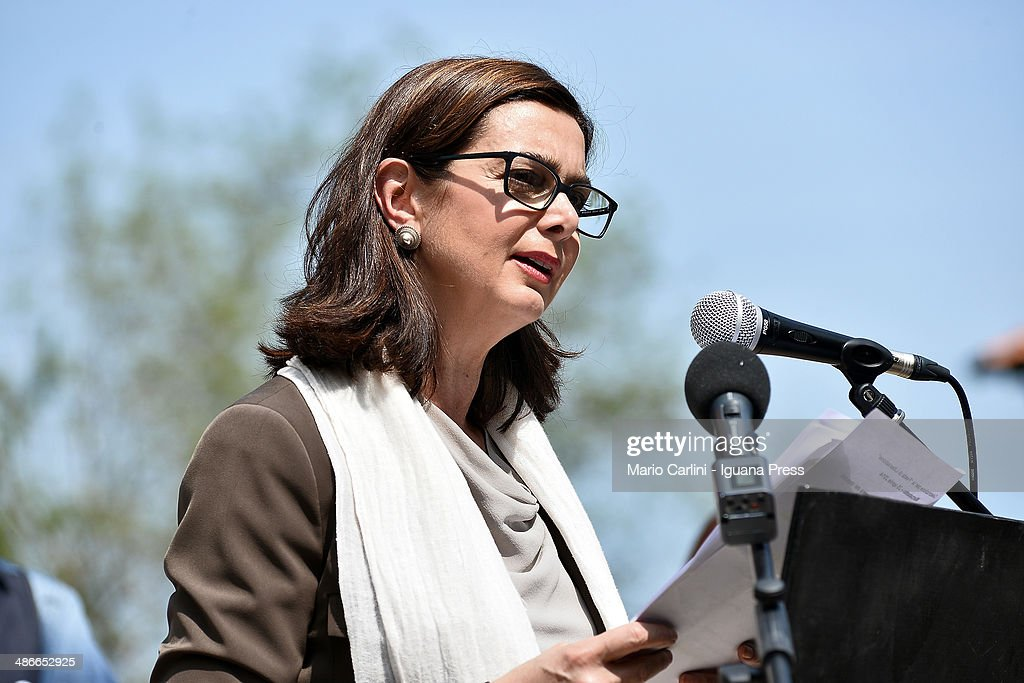 Italian President of the Chamber of Deputies <a gi-track='captionPersonalityLinkClicked' href=/galleries/search?phrase=Laura+Boldrini&family=editorial&specificpeople=4364882 ng-click='$event.stopPropagation()'>Laura Boldrini</a> attends the celebration for Liberation at Monte Sole di Marzabotto on April 25, 2014 in Bologna, Italy.