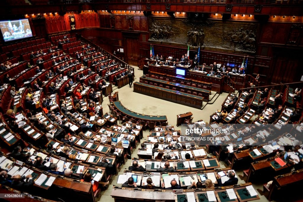 Italian president of the Senate Piero Grasso next to italian president of the Parliament Laura Boldrini delivers a speech during the Opening Session...