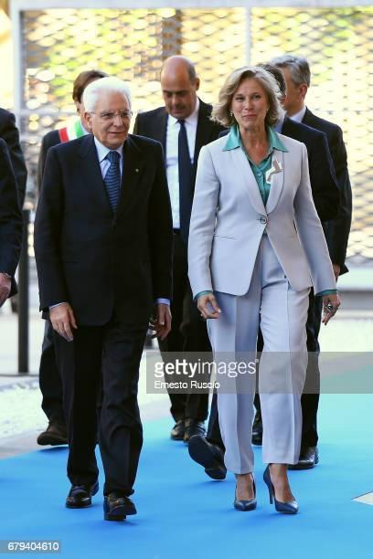 Italian President Sergio Mattarella and Giovanna Melandri visit Maxxi Museum on May 5 2017 in Rome Italy