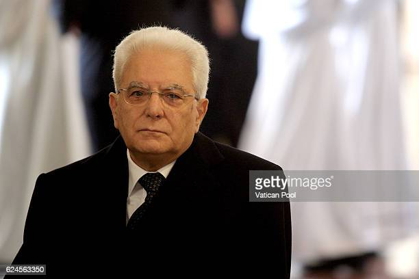 Italian President Sergio Mattarella attends the closing of the Jubilee of Mercy in St Peter's Basilica on November 20 2016 in Vatican City Vatican...