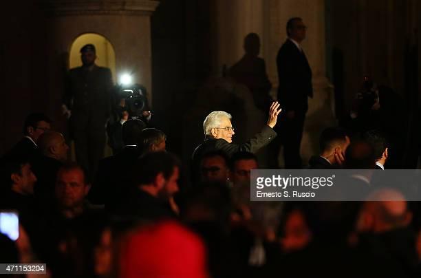Italian President Sergio Mattarella during the 'Viva il 25 aprile' at Piazza del Quirinale on April 25 2015 in Rome Italy