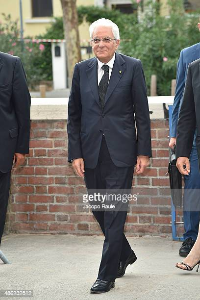 Italian President Sergio Mattarella is seen arriving at Opening Ceremony during the 72nd Venice Film Festival on September 2 2015 in Venice Italy