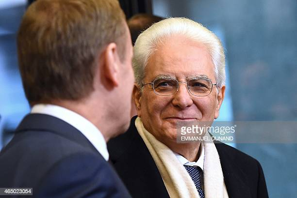 Italian President Sergio Mattarella is welcomed by European Council President Donald Tusk at the European Council headquarters in Brussels on March 3...