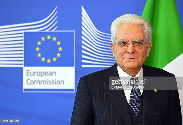 Italian President Sergio Mattarella looks on as he is welcome by the European Commission president at the European Commission headquarters in...